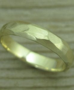 Hammered Gold Wedding Band, Gold Wedding Band