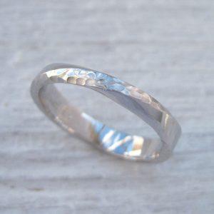 Hammered Mobius Wedding Ring, White Gold Hammered Mobius Wedding Band