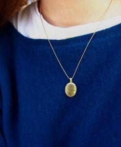 Hamsa pendant in gold - for protection & goodluck - pave oval shape - free shipping - new designer silver  - gift - best friend - promise