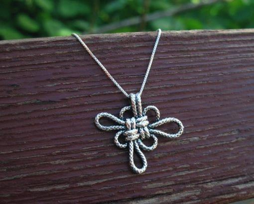 Infinity Gold Neckalce Love Knot, Pendant 14k Gold Japanese Lucky Neckalce
