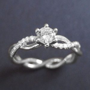 Infinity Knot Diamond Engagement Ring, Infinity Engagement Ring