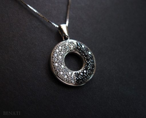 Infinity Pendant In White Gold With Black And White Diamonds - ying yang pendant, 14k white mobius pendant