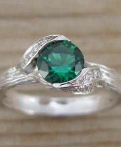 Leaf Engagement Ring, Emerald Engagement Ring