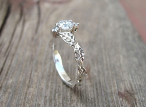 Leaf Engagement Ring, Gold Engagement Ring