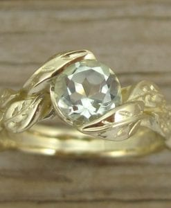 Leaf Engagement Ring, Green Amethyst Engagement Ring