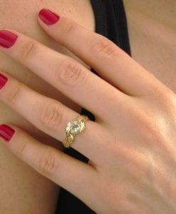 Leaf Engagement Ring, Green Amethyst Engagement Ring