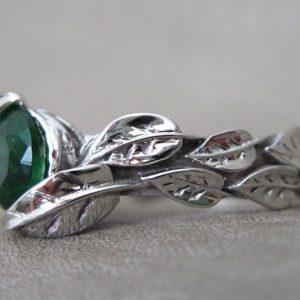 Leaf Engagement Ring, Green Stone Leaf Engagement Ring