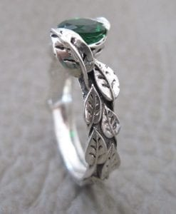 Leaf Engagement Ring, Green Stone Leaf Engagement Ring
