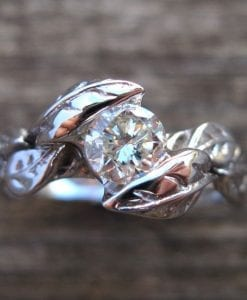 Leaf Engagement Ring, Leaf Moissanite Engagement Ring