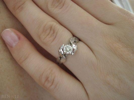 Leaf Engagement Ring, Leaf Moissanite Engagement Ring