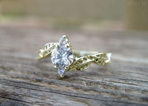 Leaf Engagement Ring, Leaves Engagement Ring
