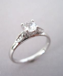 Leaf Engagement Ring, Moissanite vintage Ring