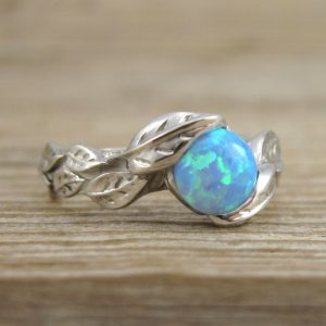 Leaf Engagement Ring, Opal Engagement Ring