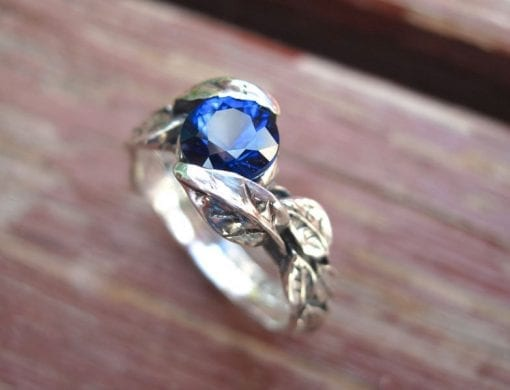 Leaf Engagement Ring, Sapphire Engagement Ring