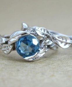 Leaf Engagement Ring Set, Blue Topaz Wedding Ring Set