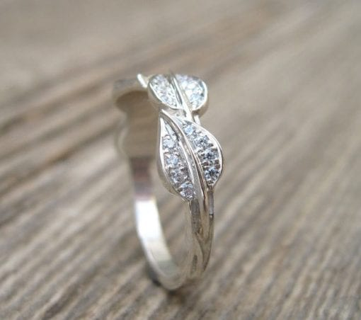 Leaf Engagement Wedding band, White Gold Leaf Ring