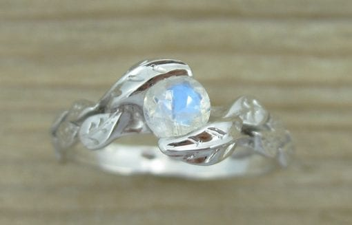 Leaf moonstone Gold ring, engagement ring