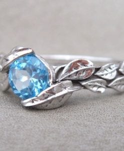 Leaf Ring, Blue Topaz Leaf Engagement Ring In White Gold