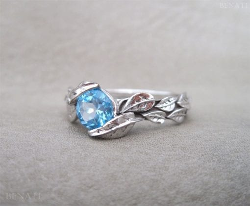Leaf Ring, Blue Topaz Leaf Engagement Ring In yellow Gold