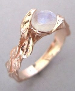 Leaf Ring With Moonstone 18k, Rose Gold Moonstone Ring