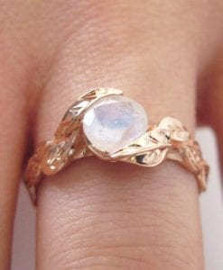 Leaf Ring With Moonstone, Rose Gold Moonstone Ring