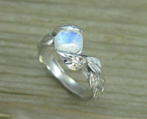 Leaf Ring With Moonstone, White Gold Moonstone Leaf Ring