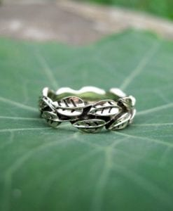 Leaf Wedding Band, White Gold Leaf Wedding band