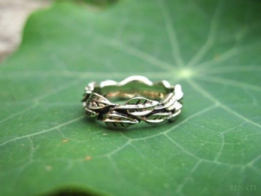 Leaf Wedding Band, White Gold Leaf Wedding band