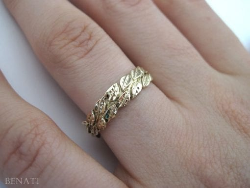 Leaf Wedding Ring, Gold Wedding Leaf Ring