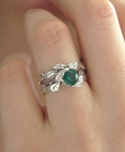 Leaf Wedding Set, Leaf Engagement Ring Set
