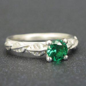 Leaves Engagement Ring, Matte Finish engagement ring