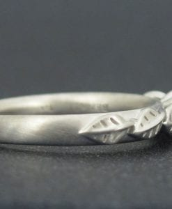 Leaves Engagement Ring, Matte Finish engagement ring
