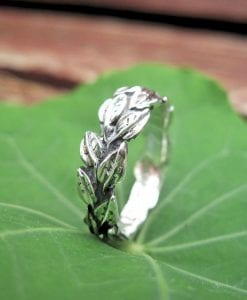 Leaves Wedding Ring In 14k White Gold, Leaf Wedding band