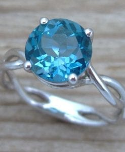 London Blue Topaz Engagement Ring, London Blue Topaz Infinity Engagement Ring