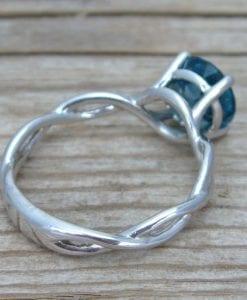 London Blue Topaz Engagement Ring, London Blue Topaz Infinity Engagement Ring