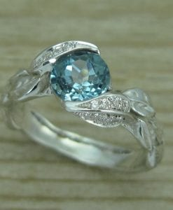 London Blue Topaz Leaf Engagement Ring With Diamonds, White Gold Leaves Ring
