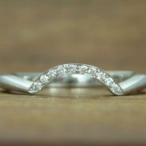 Matching Wave Wedding Ring With Diamonds, Antique Diamond Wave Wedding Band