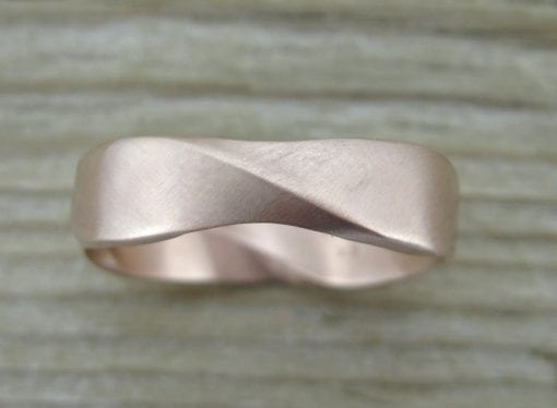 Matte Rose Gold Mobius Wedding Ring, 6mm Width Mobius Ring