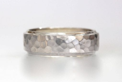 Mens hammered stepped Beveled edge band, white gold wide mens wedding band