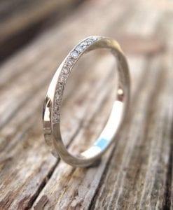 Mobius diamond wedding ring, 2mm Diamond eternity ring