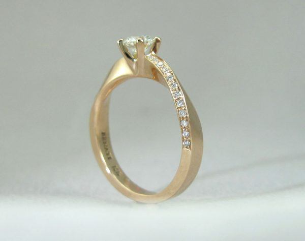 Mobius Wave Diamond Engagement Ring, Yellow Gold Diamond Mobius Engagement Ring