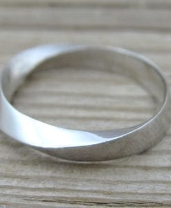 Mobius Wedding Band With Scratched Texture, 4.5mm Mobius Wedding Ring