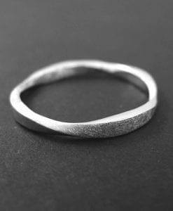 Mobius Wedding ring - Square Profile Mobius Ring In 14k White Gold, Mobius Wedding band