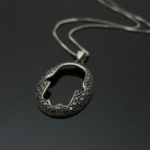 Modern Oval Hamsa Pendant In White gold With Black Spinel gemstones - protection, goodluck