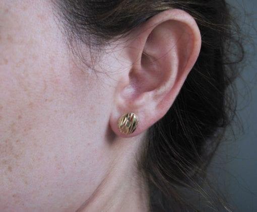 Modern Oval Stud Earrings - Contemporary Solid 14k Yellow Gold Earrings - Bridal Earrings - New Designer Studs