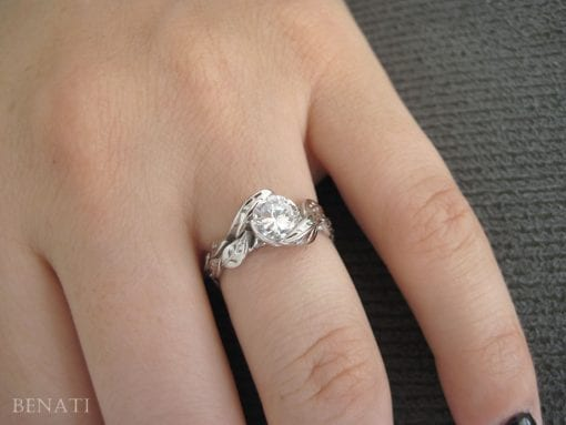 Moissanite Engagement Ring, Floral Ring Set In 14k White Gold