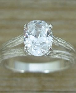 Moissanite Engagement Ring, Oval Engagement Ring With Wood Texture