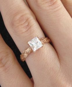 Moissanite Engagement Ring, Rose Gold Leaf Engagement Ring With Moissanite