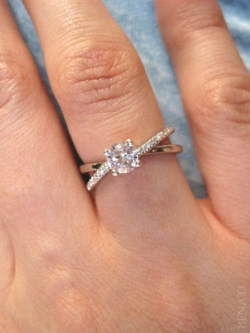 Moissanite Infinity Engagement  Ring, Diamond Infinity Engagement Ring
