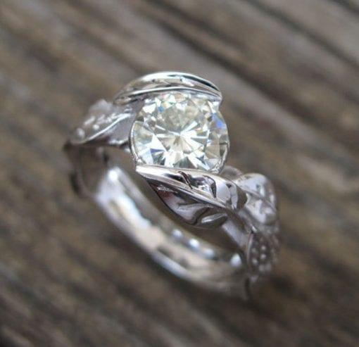 Moissanite Leaf Engagement Ring, Engagement Leaf Ring